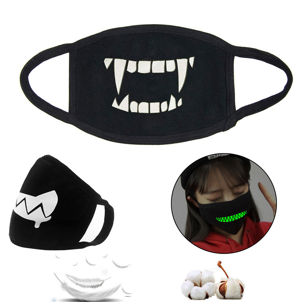 1Pcs Luminous Unisex Mouth Mask For Kids Teens Men Women Lovers, Cotton Anti-Dust Windproof Motorcycle Face Masks