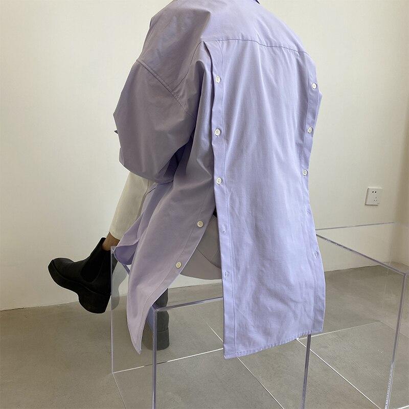 Men Button Split Back Long Sleeve Casual Shirts Male Japan Korea Style Loose Purple Shirts