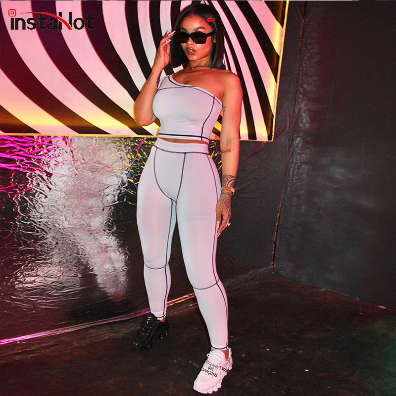 InstaHot Off The Shoulder Sexy Women Two Pieces Sporting One Shoulder Cropped Top Skinny Pants Ladies Casual Short Sleeve Summer