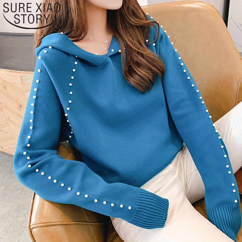 2019 Autumn/winter Women Sweaters Computer Knitted Casual Hooded Pullovers Beading Solid Women Sweaters and Pullovers 5194 50 25