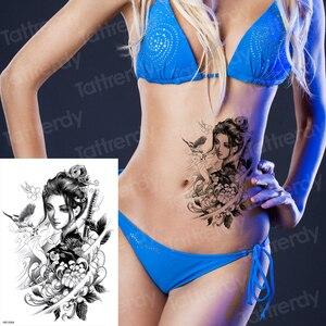 geisha tattoo japanese girl waterproof temporary tattoo arm sleeves legs waist black big tatoo for woman sexy body art decal