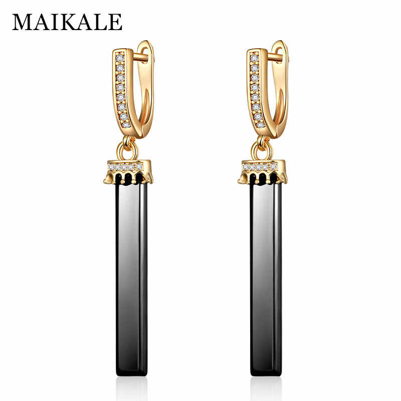 MAIKALE Black White Ceramic Long Earrings Crown Earrings for Women New Fashion Cubic Zirconia Gold Silver CZ Drop Earings Gifts