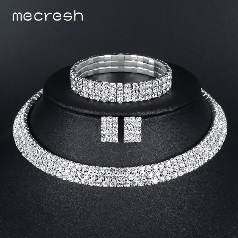 Mecresh Classic Silver Color Crystal Bridal Jewelry Sets African Beads Rhinestone Wedding Necklace Earrings Bracelet Sets 3TL002