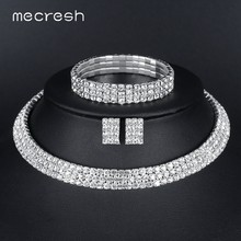 Mecresh Classic Silver Color Crystal Bridal Jewelry Sets African Beads Rhinestone Wedding Necklace Earrings Bracelet Sets 3TL002(China)