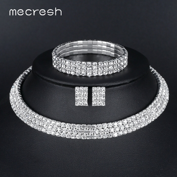 Mecresh Cor Prata Círculo de Cristal Nupcial Conjuntos de Jóias Africano Contas de Casamento Strass Colar Brincos Pulseira Define 3TL002