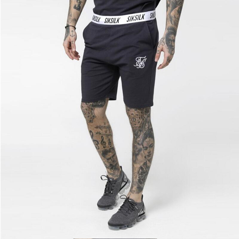High Quality Cotton Summer Fashion Brand Men Shorts Sik Embroidery Silk Fitness Bodybuilding Leisure Training Sports Shorts Men