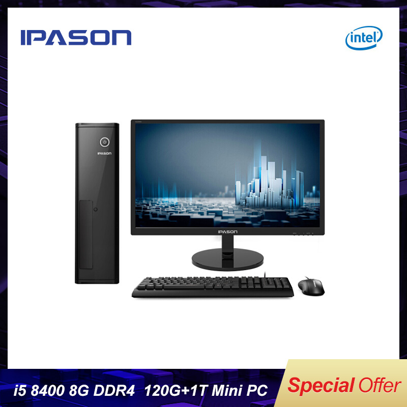 Intel 6-Core  Mini PC 8th Gen I5 8500/IPASON Business/8GB DDR4 RAM/1T+120G SSD UHD Graphics 630 Mini-Gaming PC/DP HDMI/WiFi