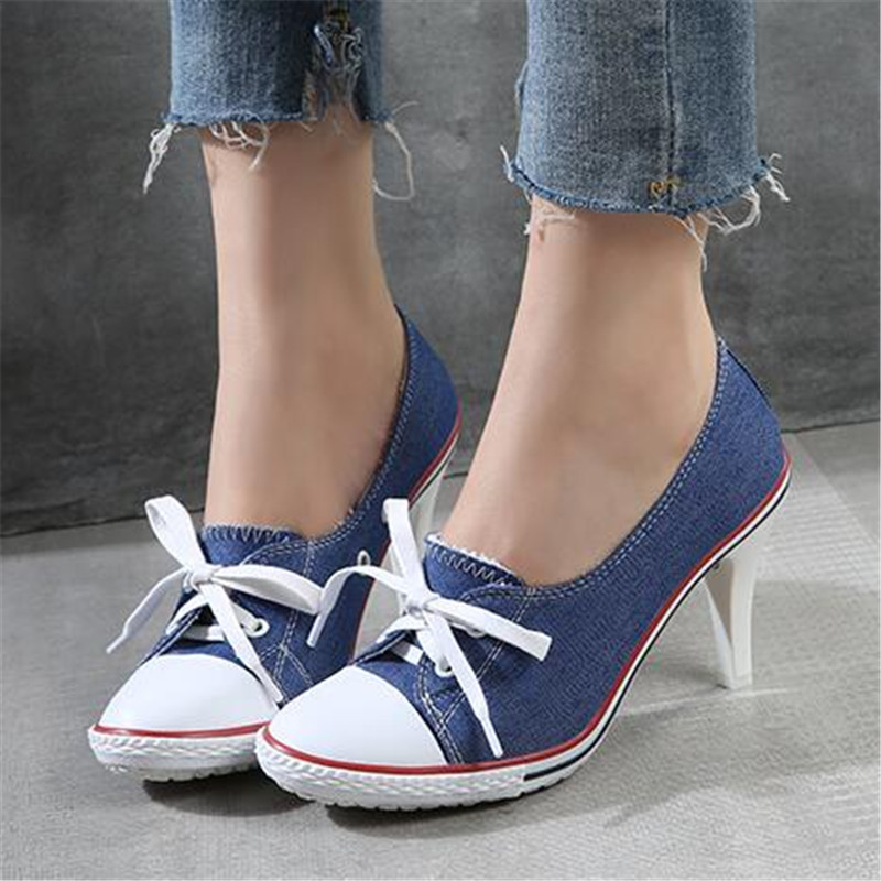 size 34-41 Pumps Denim High Quality Shallow Mouth Women's Shoes High Heel 8CM Canvas Student Shoes Female New Board Shoes