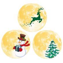 Luminous Wall Sticker Fluorescent Moon Fawn Pine Tree Snowman Christmas 30CM