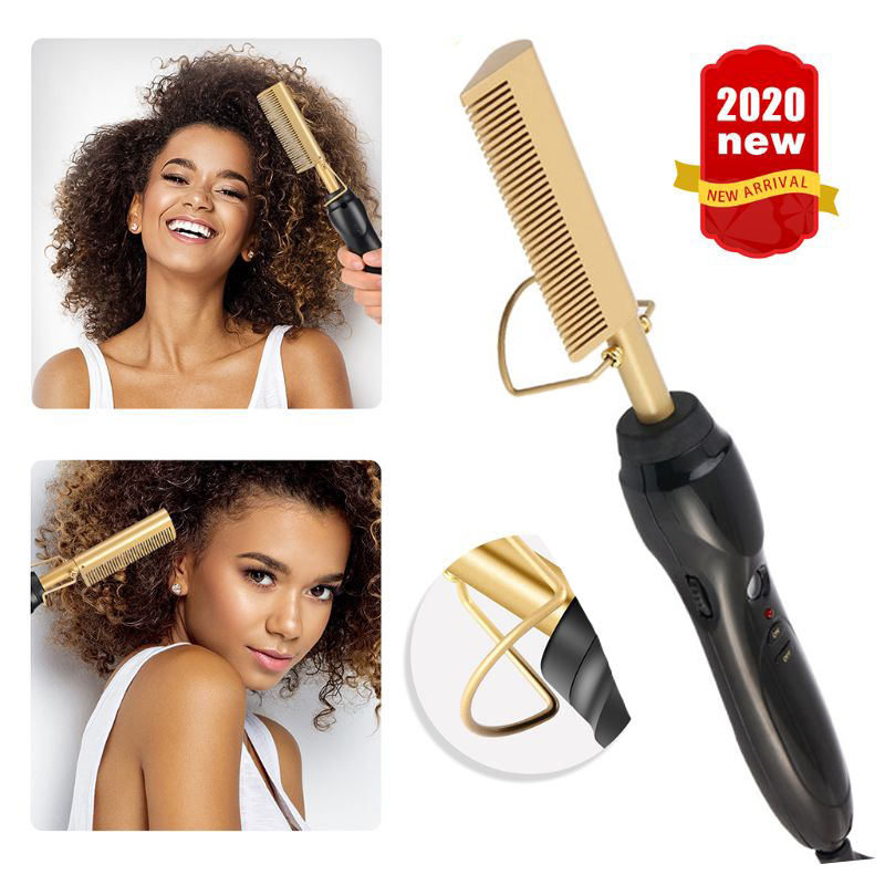 Hot Comb Wet And Dry Hair Use Hair Curling Iron Straightener Comb