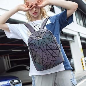 Image 5 - Fashion Women Backpack Mochila Geometric Luminous Backpacks Bagpack Girls Noctilucent Travel Shoulder Bags For School Back Pack