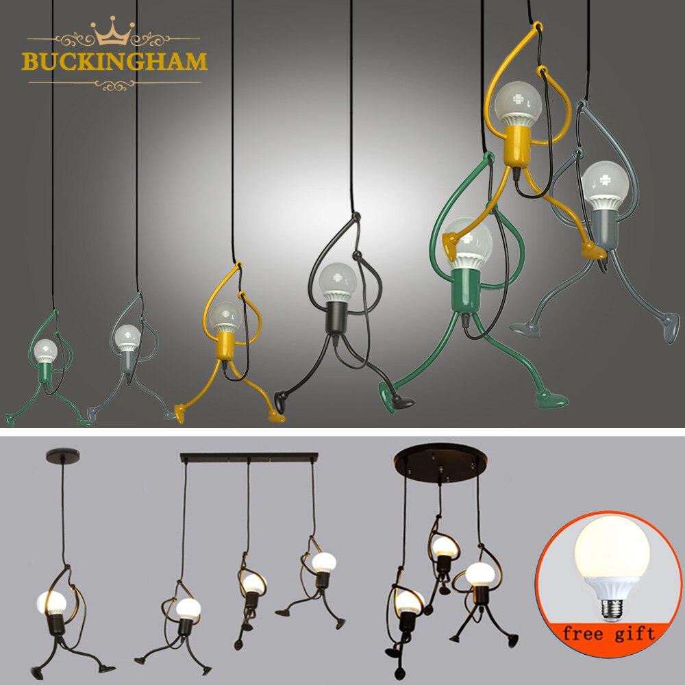 modren pendant lamps little man iron climbing lights creative hanging lamp retro loft lighting fixture kid s room kitchen home