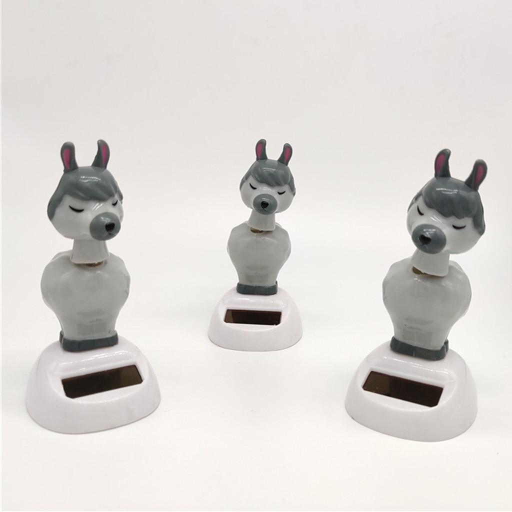Novel Solar Powered Alpaca Model Dancing Swing Figure Doll Bobbleheads Toy Collectibles Desktop Decor