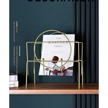 Nordic kutego żelaza geometryczny stojak na czasopisma podłoga złoty regał salon Study Storage Rack akcesoria do dekoracji wnętrz tanie i dobre opinie Nowoczesne Metal Stojąca