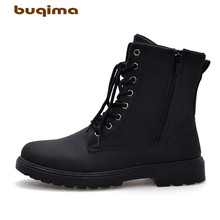 Buqima mens shoes Martin boots high short tube plus velvet fashion comfortable