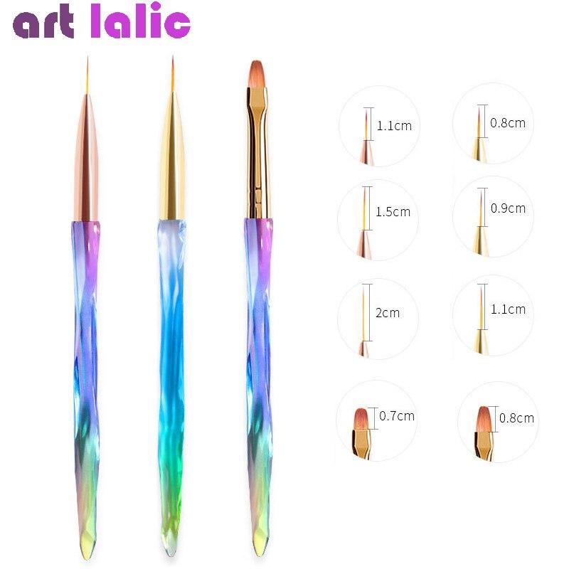 3Pcs/set Nail Art Line Painting Pen 3D Tips DIY Acrylic UV Gel Polish Brush Drawing Flower Liner Grid French Design Manicure