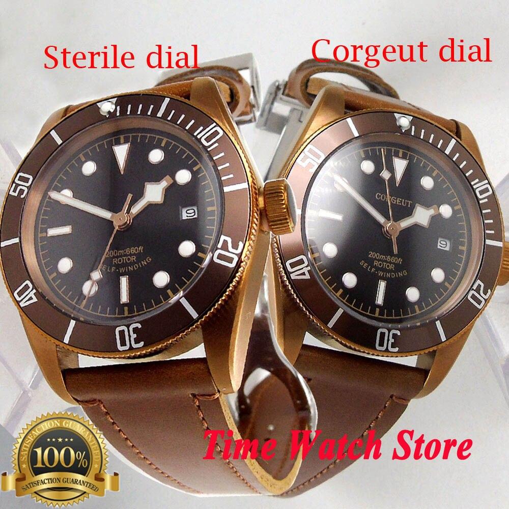 Corgeut 41mm Miyota 8215 20ATM Automatic Watch Men PVD Coffee Copper Bronze Case Sapphire Glass Luminous Deployant Clasp