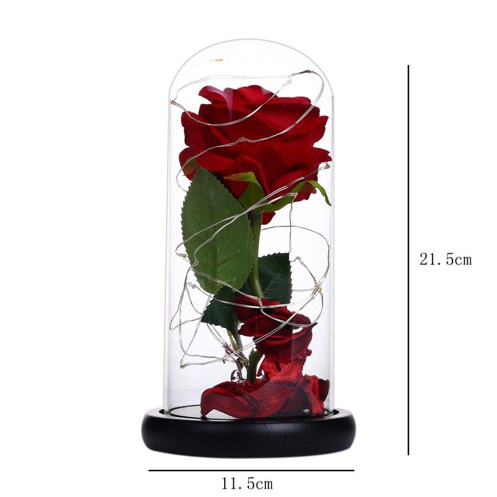 Eternal Flower Glass Cover Beauty And Beast Eternal Flower Rose In Flask 5