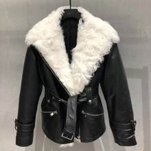 Genuine leather jacket women motorcycle real sheepskin leather coat with natural sheep fur collar 2019 new fashion female overco(China)