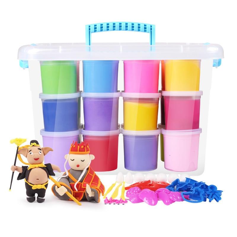 24 cor ar seco brinquedos educativos para criancas colorido plasticina argila luz argila do polimero diy
