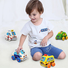 Bay Car Toys Gifts for Toddlers 13-24 months, Kids Pull-Back Vehicle Set - Soft Baby Toy Set with 4 Car and Trucks Birthday Gift 6pcs set boy girl cute mini pull back car toys cartoon inertia pullback toy set truck vehicle for kids toddlers