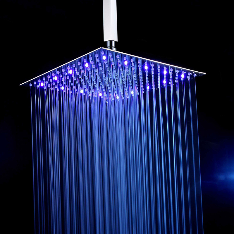 Luxury Chrome  LED  Rainfall Shower Head Stainless Steel Square Color Changing Lights Shower Head Water Flow Generates Electrici