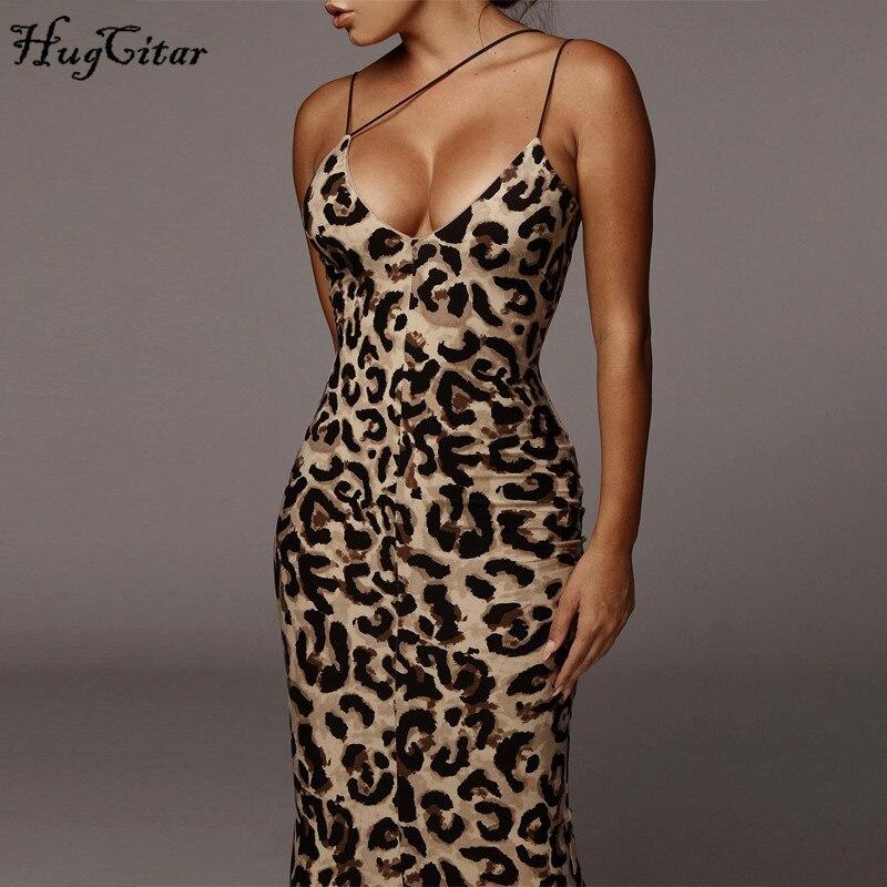 Hugcitar 2020 Leopard Print Sleeveless V-neck Sexy Midi Dress Spring Women Fashion Streetwear Christmas Party Outfits