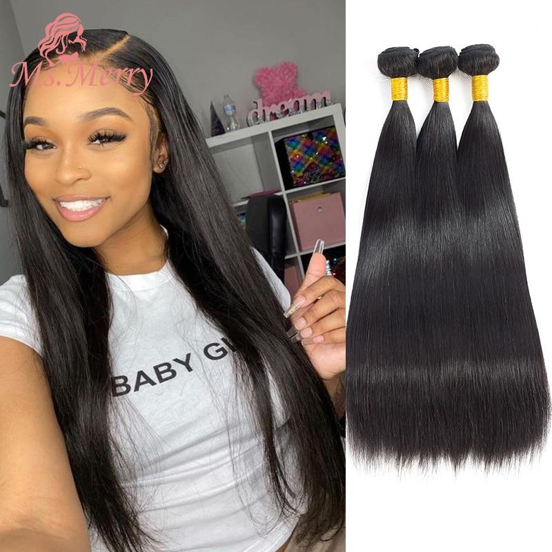 Hair Bundles Straight/Body Wave Bundles 30 inches Brazilian Hair Weave Bundles Remy Human Hair for Black Women Double Weft Weave