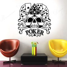 Poker Cards Gambling Gambler Skull Wall Sticker Vinyl Home Decoration Room Casino Vinyl Wall Decals Decor Removable Murals 4365 travel agency office wall sticker vinyl interior home decor decals say hello to summer voyage murals removable wallpaper 3605