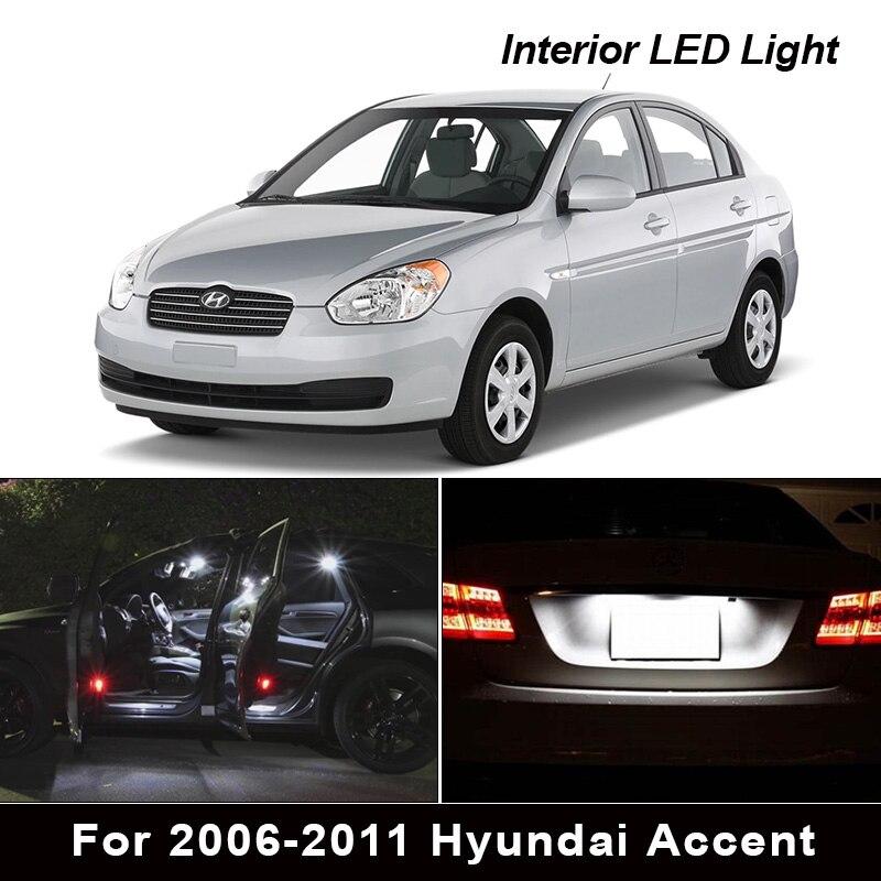 10 шт. Ксеноновые белые Внутренние светодиодные лампы посылка комплект для 2006-2011 Hyundai Accent Карта Купол багажник номерной знак свет