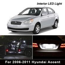 10 pces xenon branco interior luzes led pacote kit para 2006-2011 hyundai accent mapa dome tronco luz da placa de licença