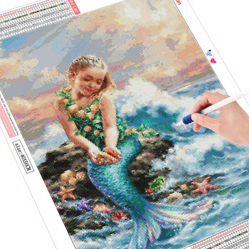 HUACAN 5d Diamond Painting Full Drill Square Mermaid Embroidery Display Picture Of Rhinestones Portrait Decoration