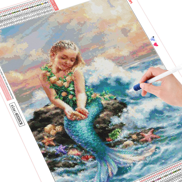 HUACAN 5d Diamond Painting Full Drill Square Mermaid Embroidery Display Picture Of Rhinestones Portrait Decoration Home