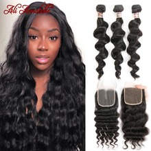 ALI ANNABELL Loose Wave Bundles With Closure Human Hair Bundles With Closure Loose Wave Human Hair With Transparent Lace Closure