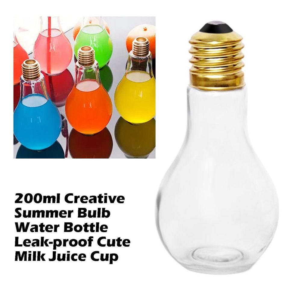 Creative Bulb Water Bottle For Brief Fashion Cute Milk Juice Light Bulb Shape Leak-proof Glass Bottle Party