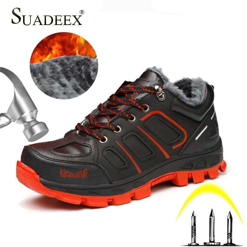 SUADEEX Men Safety Shoes Anti-smashing Work Boots Construction Safety Boots Work Waterproof Winter Warm Indestructible Shoes