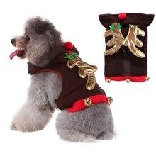 Одежда с принтом в виде собак Набор домашних рождественские аксессуары Лось колокол грудная обвязка для собак, щенков фестиваль жилет для собаки