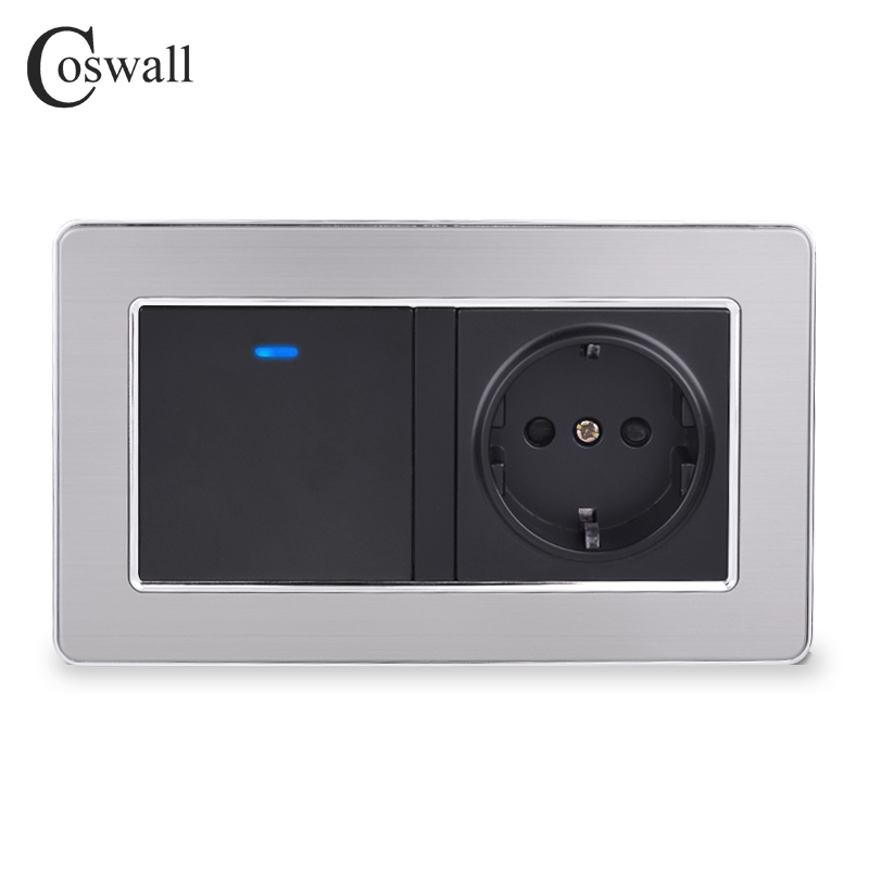 Coswall EU Standard Wall Socket + 1 Gang 2 Way On / Off Pass Through Light Switch With LED Indicator Stainless Steel Frame