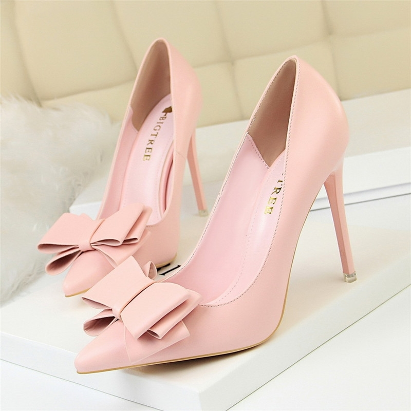 Autumn Heel Shoes Pink Heels Woman Blue Sweet Bow Women White High Heels Matte Leather Pumps Thin Heel Pointed Ladies Fashion 34