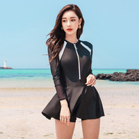 Bathing Suit Women One Piece Bikinis Female 2019 Women's Swimwear Swimsuit Woman Fused Thin Long Sleeve Swimsuits With Skirt Hot