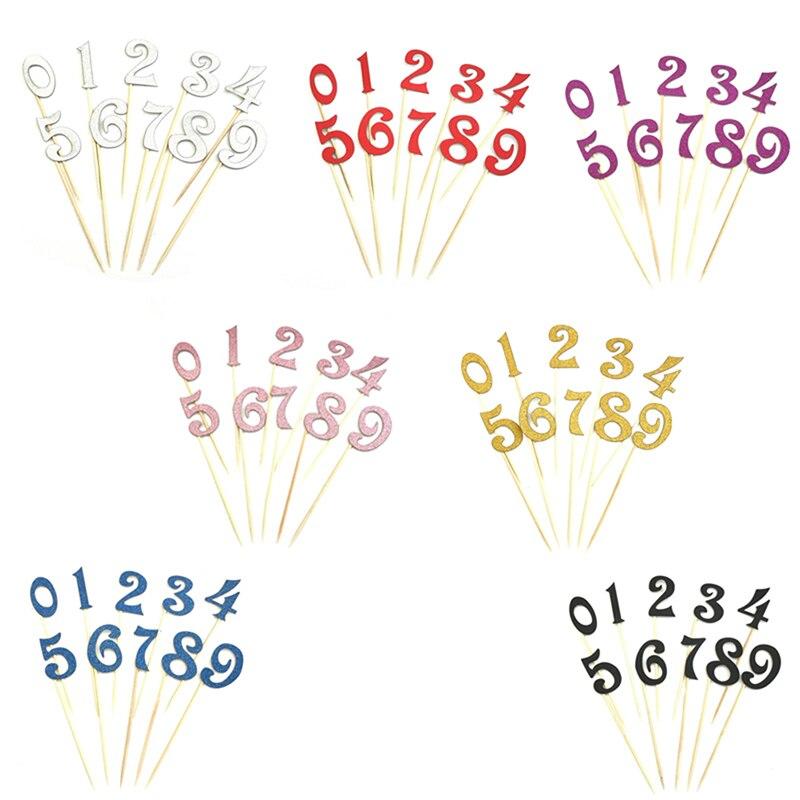 10ピース/セット番号パターンbirtayケーキトッパーアクリルゴールデン子供birtay記念パーティーの装飾7色