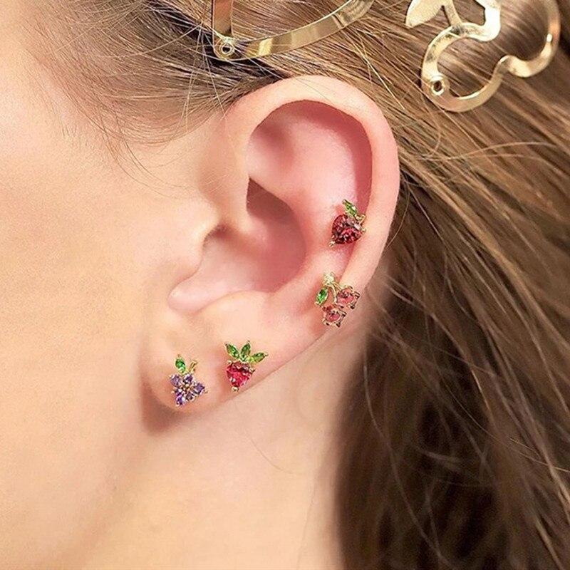 4 Pair/Set Women Fashion Crystal Fruit Stud Earrings for Women Sweet Colorful Stud Earrings Set Jewelry Gifts
