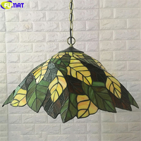 FUMAT Tiffany Style Pendant Lamp Fallen Leaves Stained Glass Hanging Light Fixture Classical Nordic Lighting Decoration Home Art