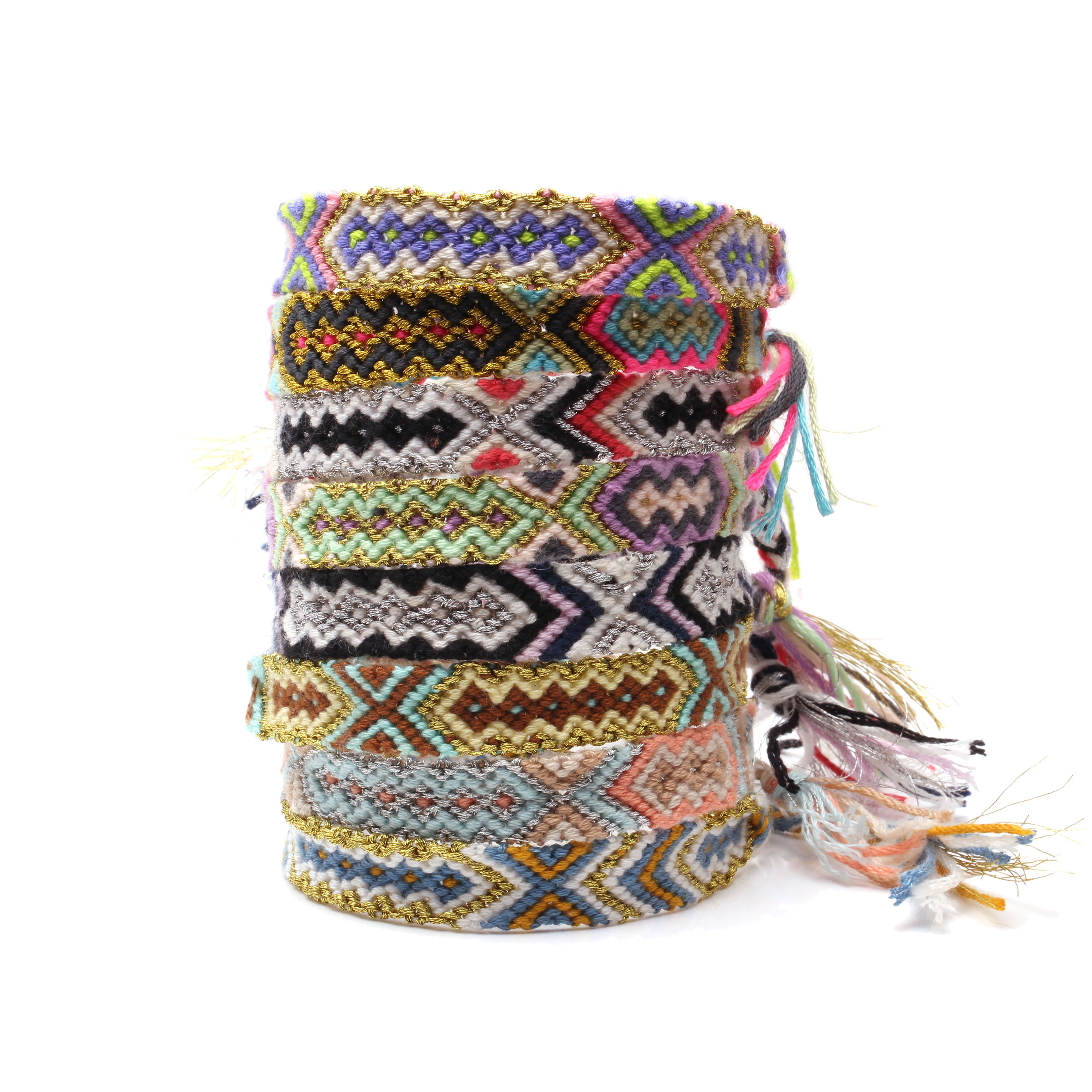 Boho Colorful Embroidery Thread Braided Friendship Bracelet Women Men Hippie Aztec Mayan Traditional Ethnic Woven Bracelets Gift