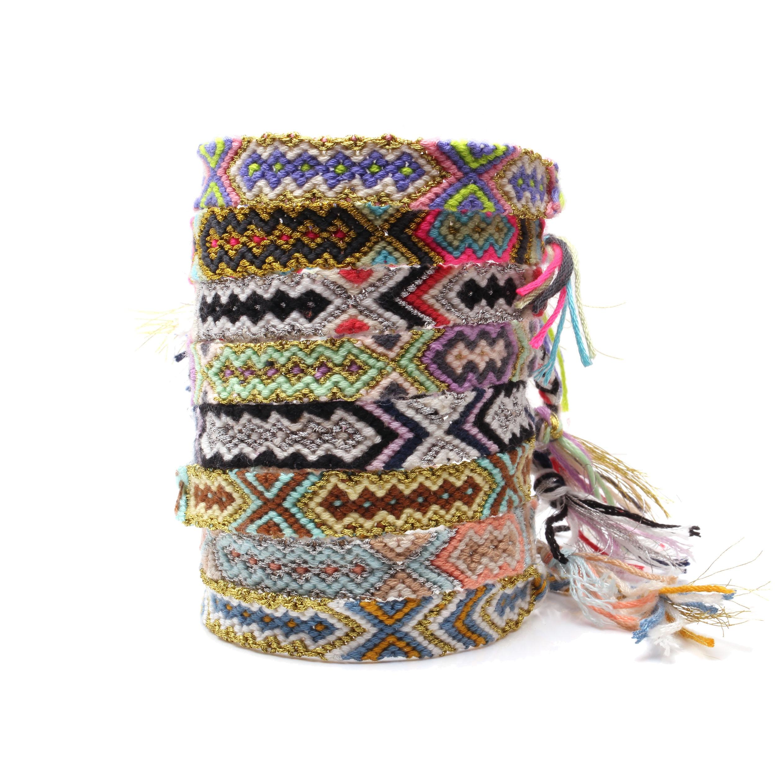 Boho Colorful Embroidery Thread Braided Friendship Bracelet Women Men Hippie Aztec Mayan Traditional Ethnic Woven Bracelets Gift