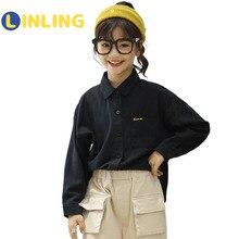 Shirt Kids Cottonstudent-Uniform Children Clothes Girl White Solid Black Classic LINLING