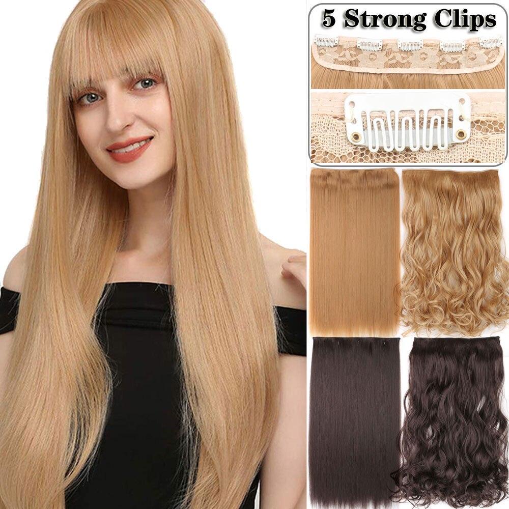 Длинные прямые Волнистые удлинители волос на 5 заколках синтетические удлинители волос на заколке высокотемпературные искусственные воло...