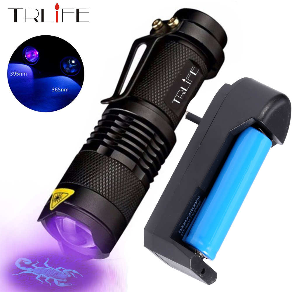 LED UV Flashlight 365nm 395nm Blacklight Scorpion UV Light Pet Urine Detector Zoomable Ultraviolet Rechargeable Outdoor Lighting