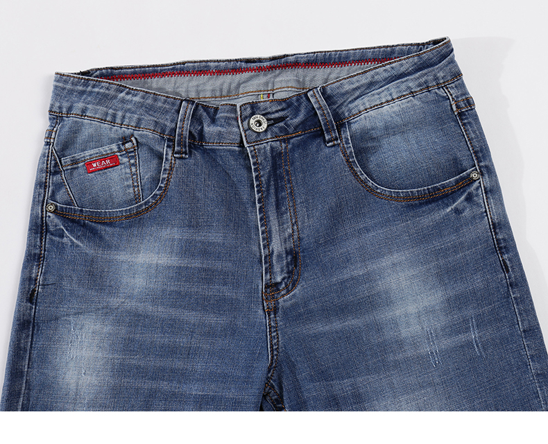 Mens Jeans 2020 Summer Thin Business Casual Straight Slim Fitness Elastic Light Blue Soft Gentleman