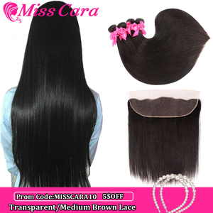 Image 1 - Peruvian Straight Hair Bundles With Frontal Miss Cara 100% Remy Human Hair 3/4 Bundles With Closure 13*4 Frontal With Bundles